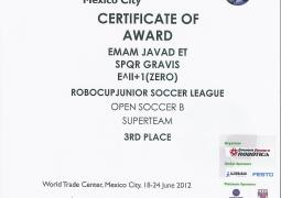 Robocup 2012 Mexico-3rd Place-2012